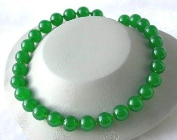 "Beauty 17"" 14mm green round jade necklace"
