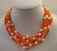 6 STRANDS CORAL & WHITE PEARL NECKLACE
