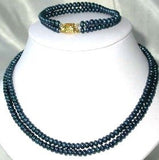 "17""-18"" 5-6mm dark blue pearl necklace bracelet set"