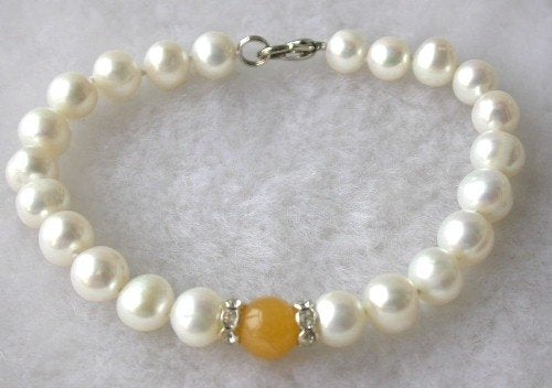 Beauty 7.5'' 7-8mm white pearl orange jade bracelet