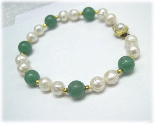 Single row 7.5'' pearl & jade bracelet