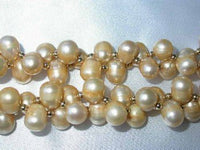"18"" double 8-9mm champagne pearl gild beads necklace"