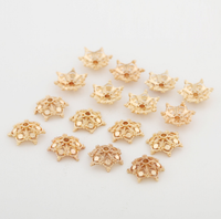 10 pcs 24k gold plated 13mm snowflake hollow brass spacer beads  brass caps brass connector