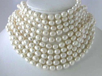 "Wholesale 10 ps 16"" 9-10mm white pearl necklace"