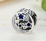 925 Sterling Silver Charm Adorable moon stars Bead Fits Pandora, Biagi, Troll, Chamilla and Many Other European Charm