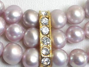 "Beautiful! 16"" 3rows 5-6mm purple Pearl Necklace"