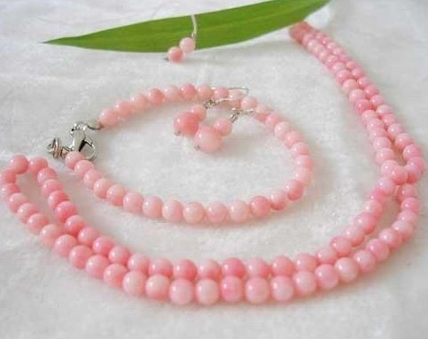 4-5mm pink coral bead necklace bracelet earrings set