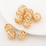 10 pcs 24k gold plated cubic hollow round ball brass spacer beads  brass caps brass connector