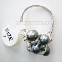 6pcs freshwater pearl ring with rhinestone - black color