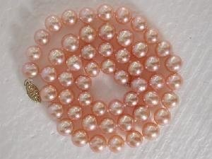 "Beautiful! 16"" 7-8mm AA! round pink FW pearl necklace"