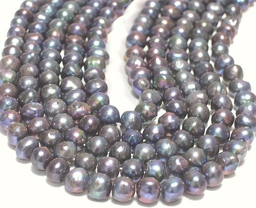 WHOLESALE LOOSE 6-PCS 8-9MM BLACK PEARL NECKLACES
