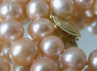 Genuine 17'' 7-8mm pink round pearl necklace-14Kgp clasp