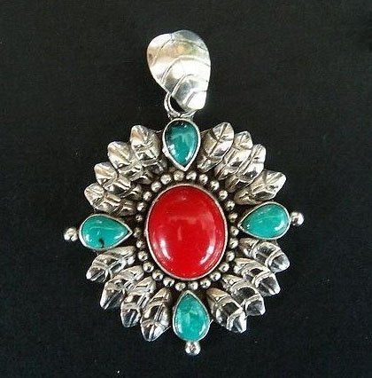 Red coral & turquoise pendant sterling silver