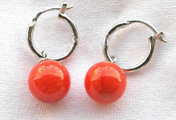 Pretty 10mm red coral earrings 14kgp setting