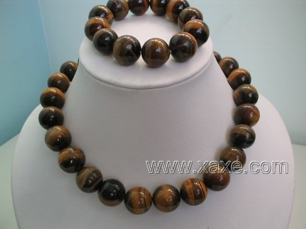 Huge 14mm tigereye stone necklace and bracelet set