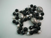 32'' agate bead, fw pearl and tibet silver necklace