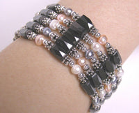 Black Hematite Magnetic Beads & Pearl Necklace bracelet