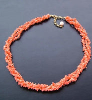 Angelskin Natural Pink 3row Coral Chips Necklace