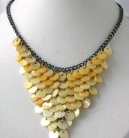 10mm yellow shell black chain necklace