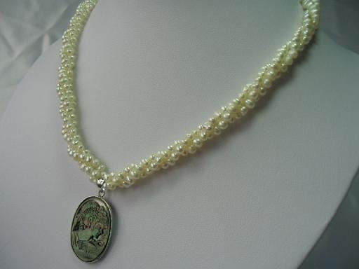 "18"" 3 stands natural pearl&seashell pendant necklace"