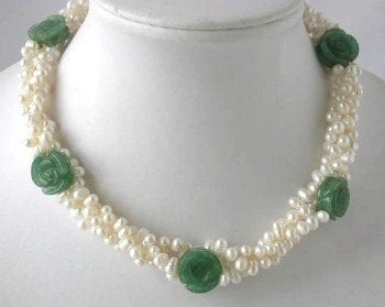 "16"" 3-rows white pearl carved jade necklace"