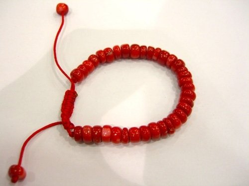 8-9mm coral bead bracelet extended band