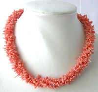 "16"" Three rows pink branch coral necklace"
