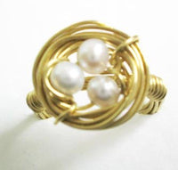 Wire wrapped nest ring - 3 pcs white pearls golden copper