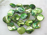 wholesale 10 strands 15mm Shell Beads loose string - grass green