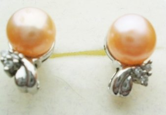 Pearl earrings with sterling silver - 6.5mm Pink