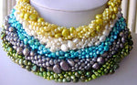 Wholesale 5 pcs 5row flat pearl necklaces