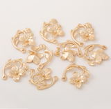5 pcs 24k gold plated the beauty flower pendant brass spacer beads  brass caps brass connector