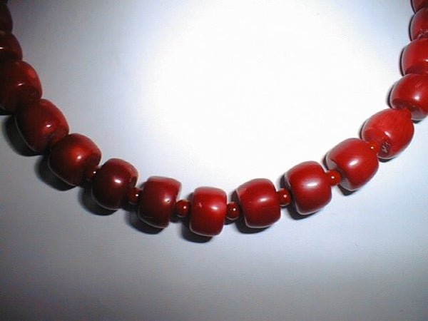 "18"" red coral barrel shape &beads necklace"