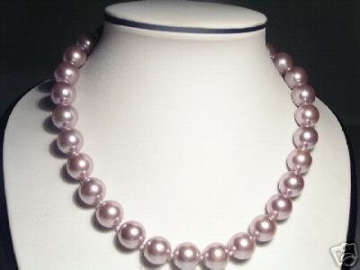 14mm Lustrous Purple Seashell Pearls Necklace
