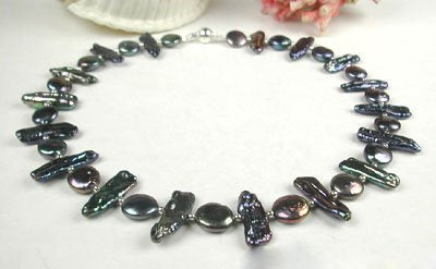 16.5'' black coin pearl and biwa pearl necklace