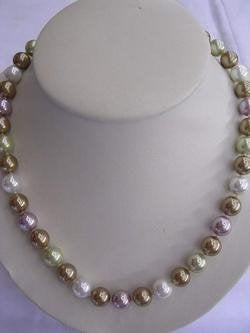 12mm RARE 3-color Sea Shell Pearl Necklace
