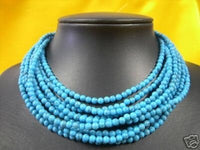 10 rows turquoise 4mm bead necklace