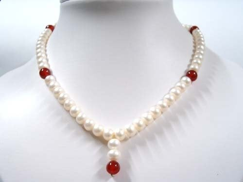 "16"" white FW pearl and carnelian Necklace"