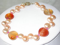 Graceful 17''/ 7.5'' 5-6mm pink pearl heart agate necklace