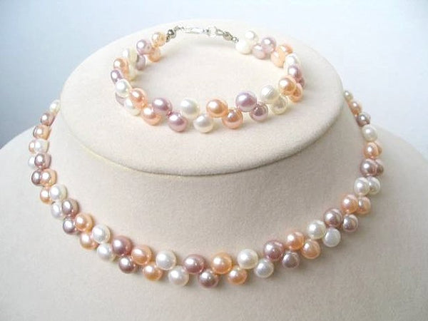 Flowery multicolor cultured pearl Necklace & Bracelet