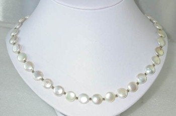 "18"" 10mm lustrous white coin pearl necklace"
