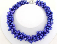 3 strand deep blue pearl necklace