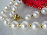 20'' 9mm white round cultured pearls necklace 9k gold