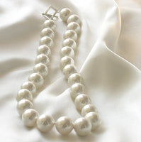 SUPERB 17'' 14MM WHITE South Sea Shell Necklace 925
