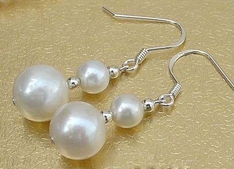5-10mm white freshwater pearl earrings dangle