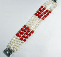 4Rows 6mm Cultured Pearl & Red coral Bracelet