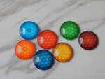 100 X COLORFUL SKY CABOCHON - HALF ROUND/DOME PRINTED GLASS GLUE ON- 25-58 MM