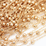 1 meter 24k gold plated brass beads chain