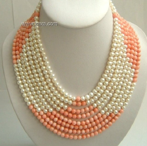 8 strand white color freshwater pearls &coral SS925