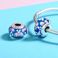 Sterling 925 silver charm the drift pink Murano bead pendant fits European bracelet